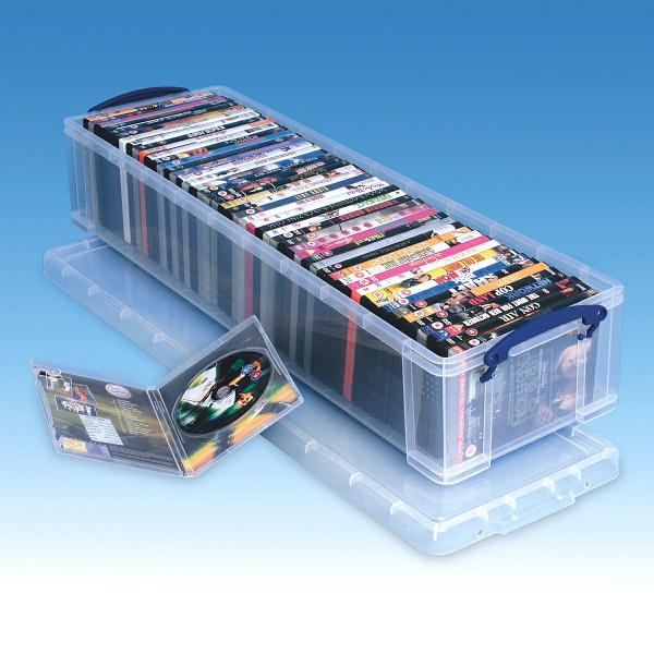 Lange Aufbewahrungsbox aus Kunststoff für 50 DVD Hüllen