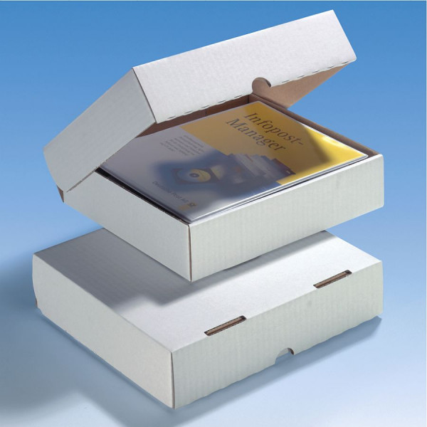 50 Stk. weiße Deckelbox 245x224x60 mm extra stabil