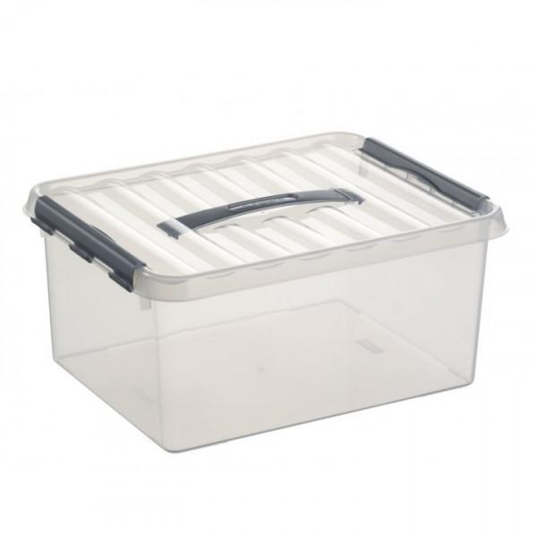 Q-line Box 15L mit Tragegriff, transp/metallf.