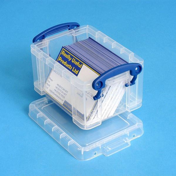 Kleine Kunststoffdose als Visitenkartenbox