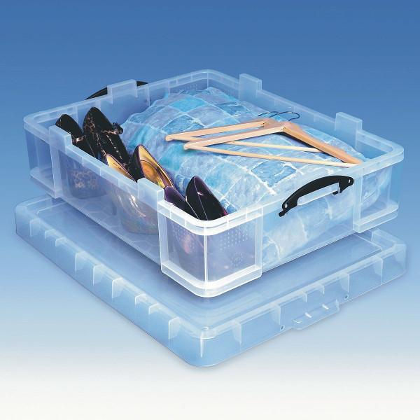 70 Liter Unterbettbox aus Kunststoff gefüllt mit Schuhen und Bettwäsche