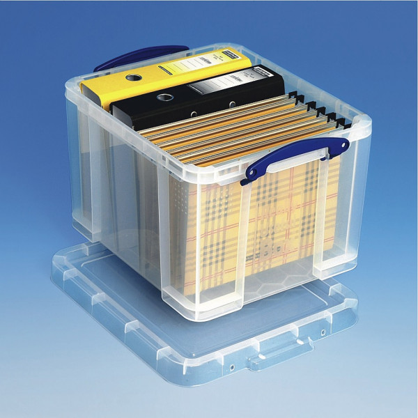 Transparente Kunststoffbox 35 Liter mit Aktenordnern und Hängemappen
