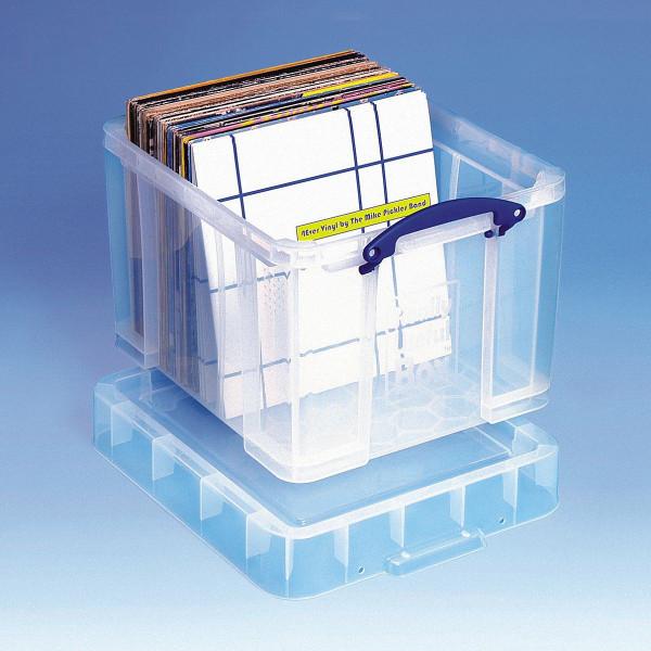 Transparente Aufbewahrungsbox gefüllt mit LP Langspielplatten, stehend
