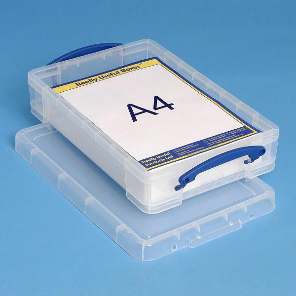 Flache 4 Liter Kunststoffbox gefüllt mit DIN A4 Papier