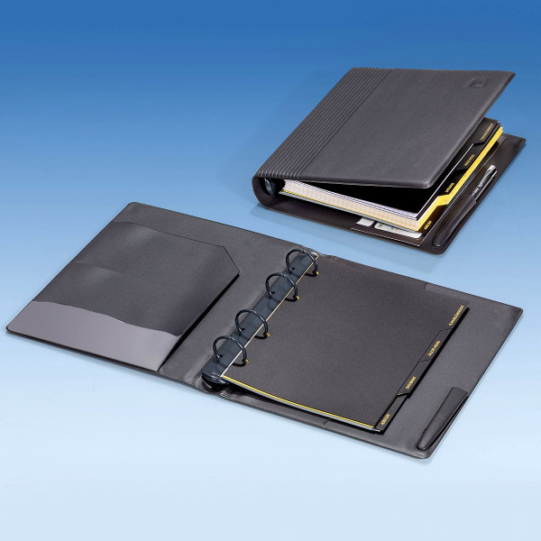 A5 Kunststoffringbuch anthrazit mit 4-Ringmechanik inkl. Registerblätter
