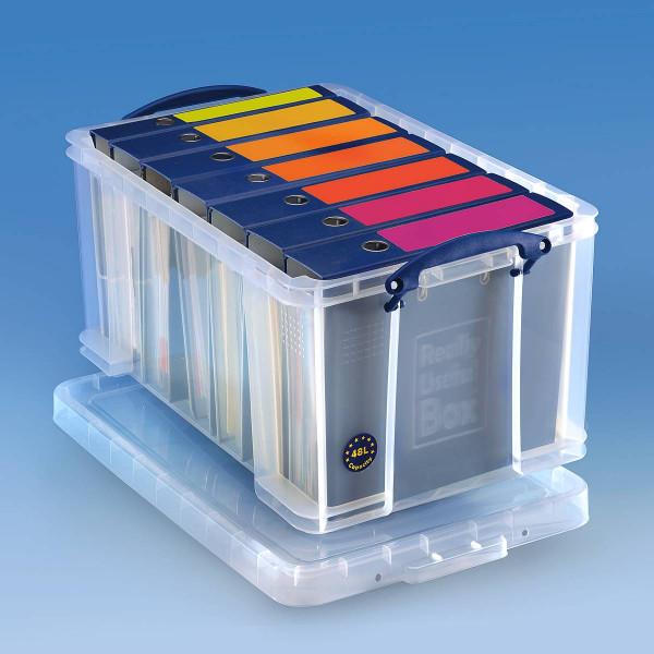 Transparente Aufbewahrungsbox aus Kunststoff 48 Liter mit Deckel für 6 Aktenordner