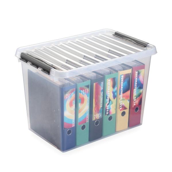 Q-line Box 72L, Ordnerbox, transp/metallic.