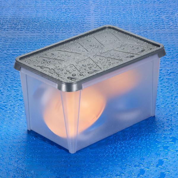 ORTHEX wasserdichte Kunststoffbox 50 Liter mit Regentropfen