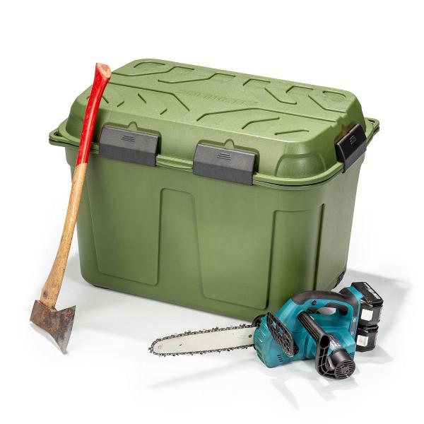 Wasserdichte Kunststoffbox 160 Liter grün mit Werkzeug für Waldarbeiten