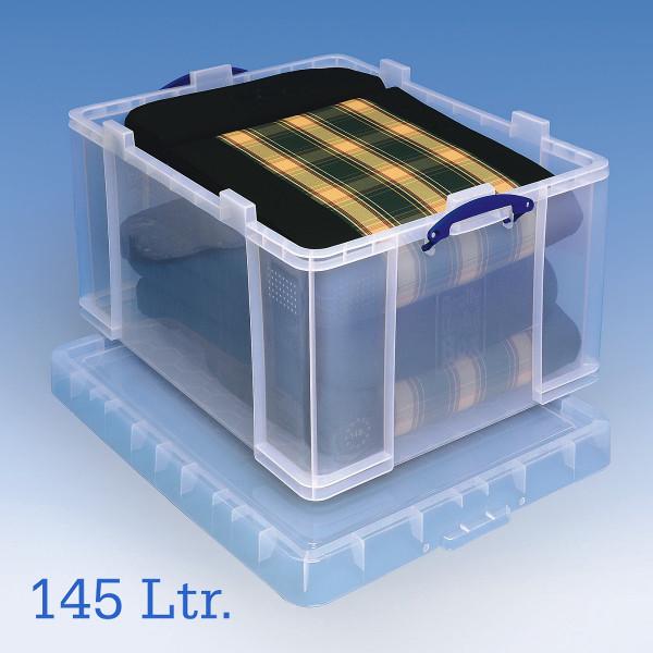 große transparente Aufbewahrungsbox für Sitzauflagen