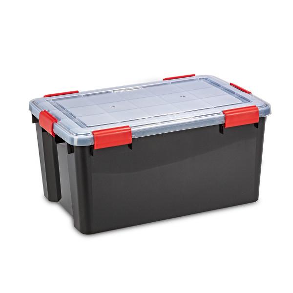 Schwarze wasserdichte Kunststoffbox mit transparentem Deckel und roten Verschlüssen
