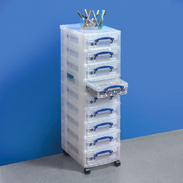 Single Tower 9 x 4-Liter-Box, Gestell transparent