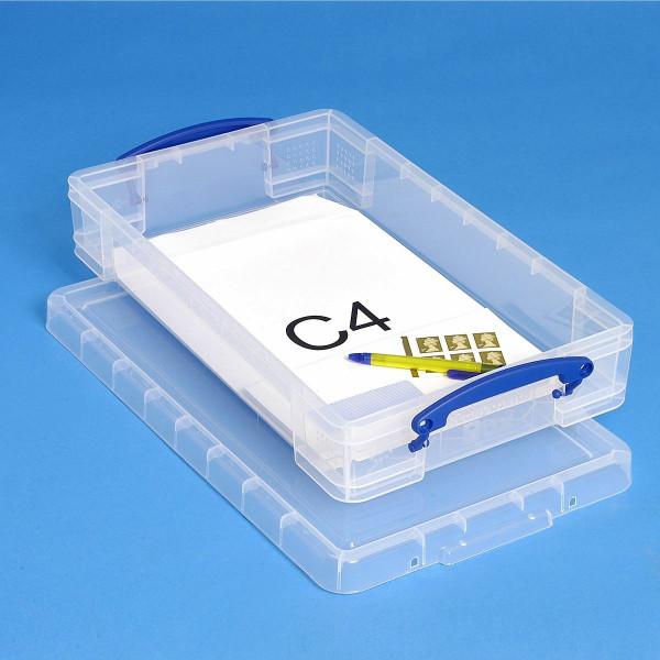 Transparente Kunststoffbox mit C4 Versandtaschen als Inhalt