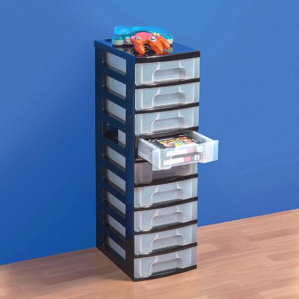 Single Tower 9 x 7-Liter-Schubladen, Gestell schwarz